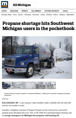Propane shortage hits Southwest Michigan users in the pocketbook